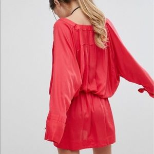 ASOS Dresses - ASOS Red Long Sleeve Wrap Cover Up Dress